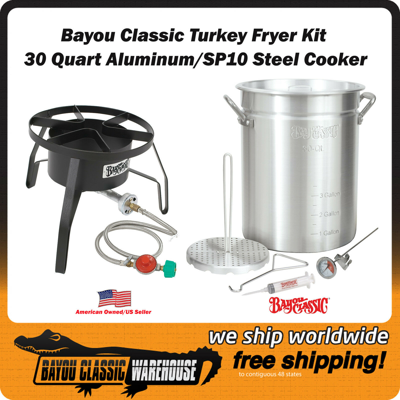 Kit Completo básica de freidora de Turquía 30 cuartos de galón Aluminio Olla con cocina de acero SP10