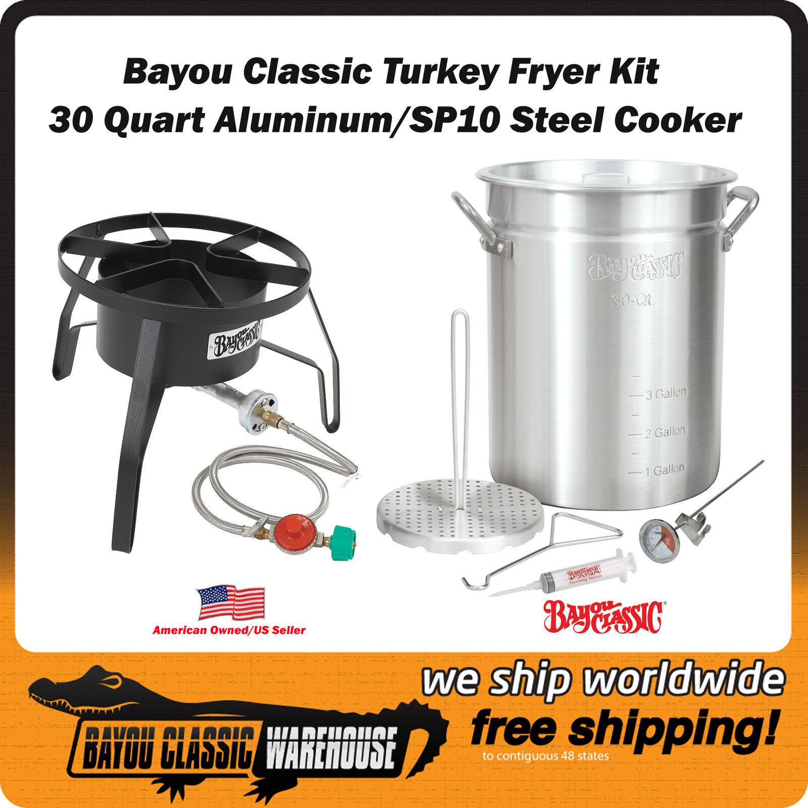 Basic Turkey Fryer Complete Kit 30 Quart Aluminum Pot met SP10 Steel Cooker