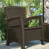 Outdoor Resin Wicker Club Arm Chair W/storage Pool Patio Deck Furniture 3 Colors