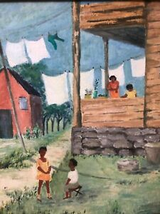 🔥 Antique Mid Century Black African American Modern Folk Art Oil Painting