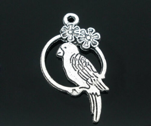PARROT CHARMS 28 x 16mm 10 x BIRD SILVER TONE SAME DAY POSTAGE