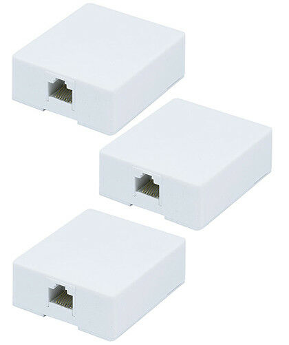 8x Dual Port 8P8C RJ45 Cat6 Network Cable Wall Surface Mount Box Adhesive