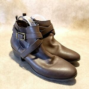 Style-amp-Co-Womens-Harperr-Sz-12-M-Brown-Leather-Ankle-Boots-Booties