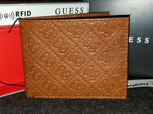 ac449d68f NEW GUESS LOS ANGELES G SIGNATURE EMBOSSED RFID BILLFOLD MENS BROWN ...