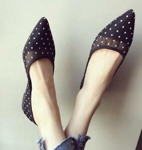 Women-039-s-Vogue-Pointed-Toe-Dots-Mesh-Flats-Boat-Shoes-Casual-Slip-On-Loafers-Size