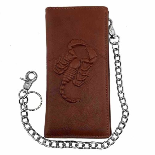 Vintage Men Real Leatehr Long Card Momey wallet Purse with chain