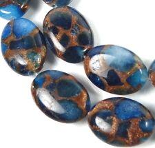 18x13mm Sapphire Blue Quartz with Pyrite / Bronze Vein Oval Beads (10)