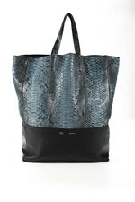 Celine Womens Python Leather Single Zip Pocket Open Top Tote Handbag Blue