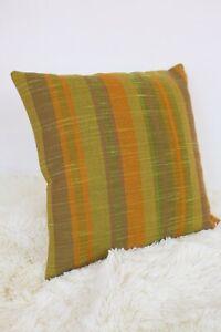 Retro-Cushion-Cover-16x16-034-Amazing-Original-60s-70s-Woven-Fabric-Green-Stripey