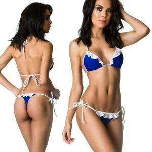 Details Bikini Set Coqueta Royal Cheeky Swimsuit Brazilian About Thong Sexy Tiny Ruffle Very 7vbIY6gyf