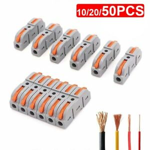 50PCS Reusable Spring Lever Terminal Block Electric Fast Wire Cable Connectors