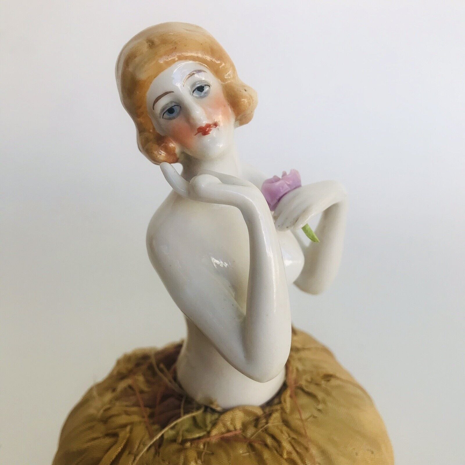 Antique Marked German Fancy Boudoir Half Doll Pin Cushion with Legs & Arms Away