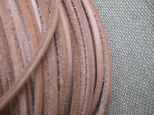 Light Tan// 3mm Square Natural Leather Thonging Cord Lace Jewellery String