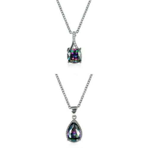 Natural Mystic Topaz Necklaces Plated in 18K White Gold