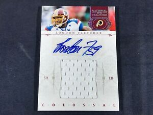 K4-71-FOOTBALL-CARD-LONDON-FLETCHER-AUTOGRAPHED-JERSEY-SWATCH-2012-PANINI
