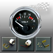 "Volt gauge chrome bezel battery 8-16v  52mm / 2"" universal panel car boat van"