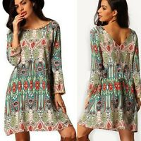 Summer Women Boho Vintage Floral Casual Dress Plus Size Loose Dress Autumn Fall