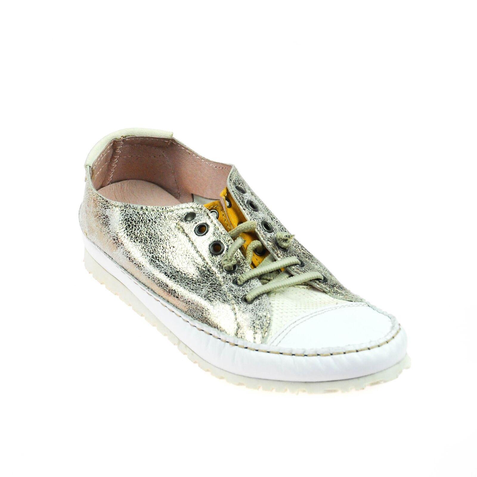 Charme Damen Sneaker Leder Weiß Silber Gold Schimmer