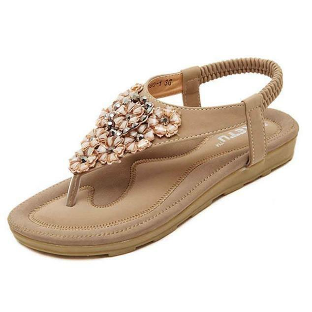 Stylish Women Leather Sandals Flats Summer Rhinestone Flat Heel Flip Flops Shoes