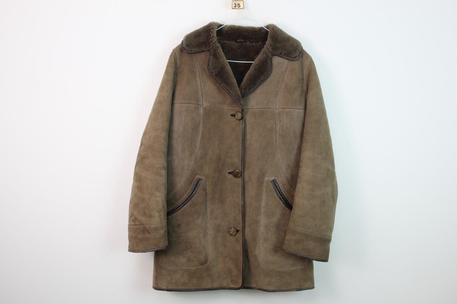 Womens S.Sanders & Sons Brown Sheepskin Coat size 32 No.R35 17 9