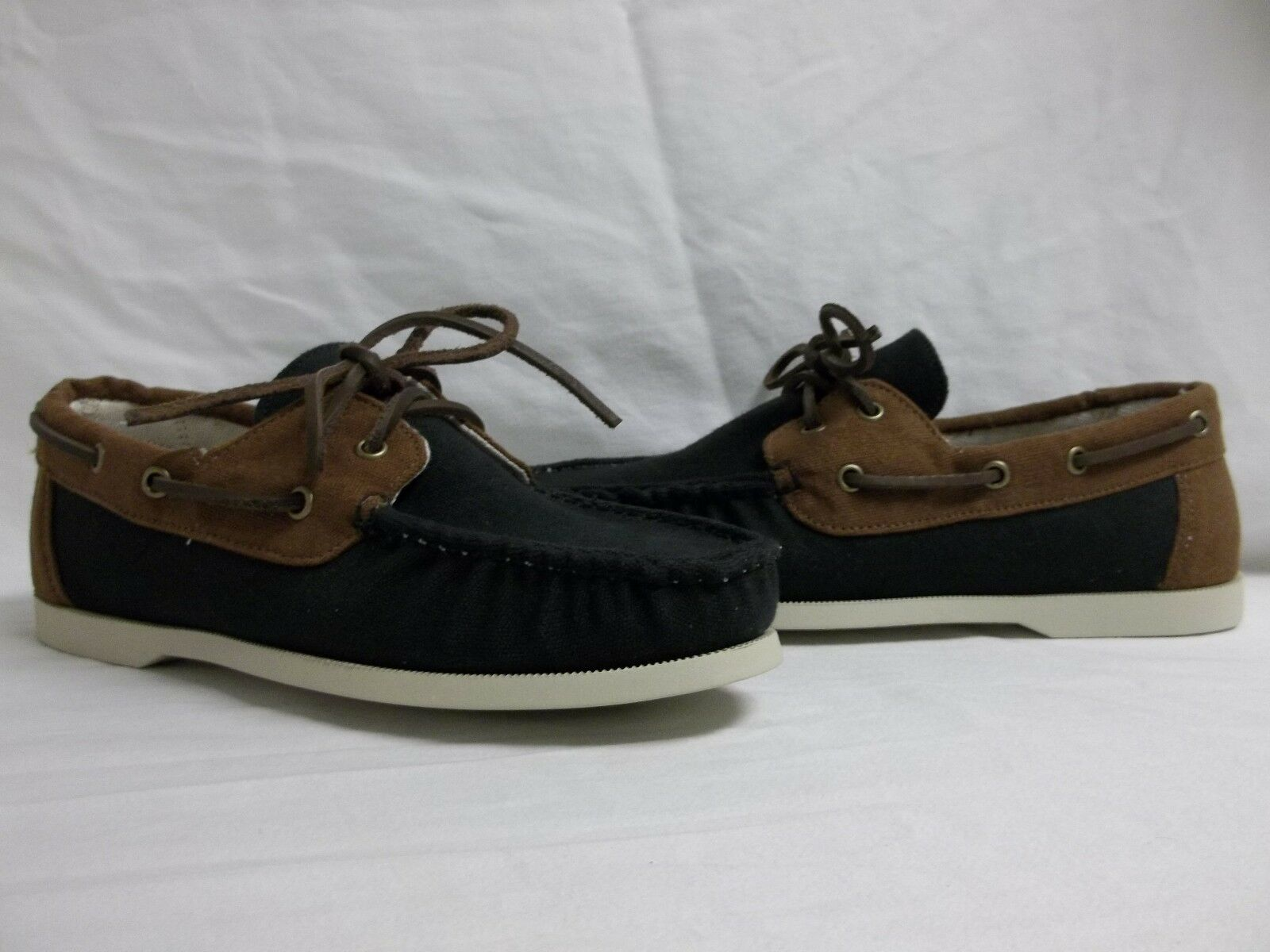 Cole Haan Size 8 M Dominick Black Tan Canvas Loafers New Mens Boat shoes NWOB