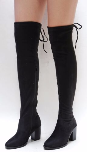New Women TMo Black Gray Stretchy Over the Knee Thigh High Chunky Heel Boots
