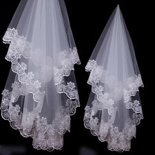 1.5m Long Cathedral Lace Satin Edge Veil 1 Tier Bridal Wedding Accessory no Comb