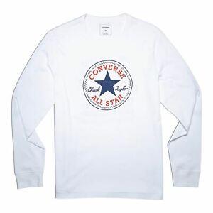 Converse-Logo-Long-Sleeve-T-Shirt-Mens-White-Tee-Shirt-Top