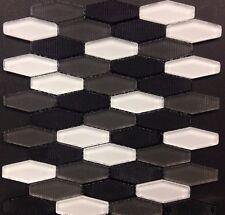 Carbon Blend Hex White Grey Black Glass Mosaic Kitchen Backsplash Bathroom Tile
