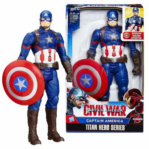 "CAPTAIN AMERICA MARVEL CIVIL WAR 12/"" Electronic Sounds Phrases TITAN Figure 2015"