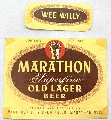 Wisconsin 10 Vintage Marathon City Brewing Sportz Club Beer Labels Marathon