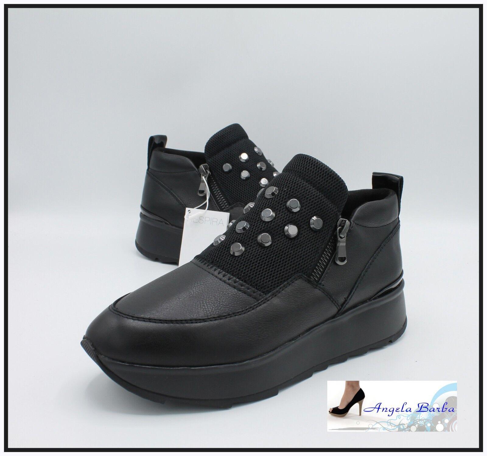 Geox shoes da women Invernale in Pelle Sneakers con Zeppa Platform black Slip On