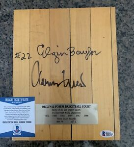 Jerry West Elgin Baylor Signed Autographed Forum Floor 8x10 Piece Lakers NBA BGS