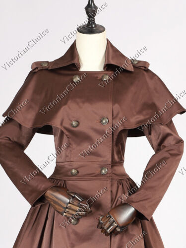 Vintage Coats & Jackets | Retro Coats and Jackets    Gothic Victorian Lolita Steampunk Chocolate Cape Trench Coat Dress Wear N C018 $83.60 AT vintagedancer.com
