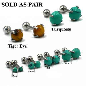 2PCS-Turquoise-Stone-Cartilage-Earring-Stud-Ear-Tragus-Helix-Upper-Ear-Piercing