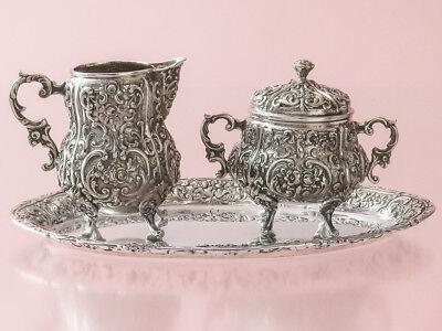 Süß GehäRtet Milch & Zucker Auf Tablett Rokokostil Silber