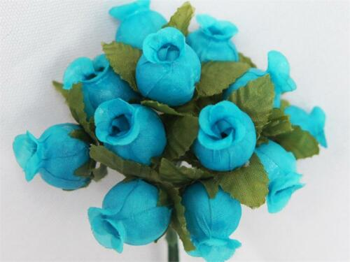 POLY Mini Silk Rose Buds with LEAVES Wedding Bouquet DIY Crafts 144 Piece LOT