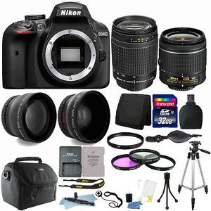 Nikon D3400 24MP DSLR Camera + 18-55mm + 70-300mm Lens + Deluxe...