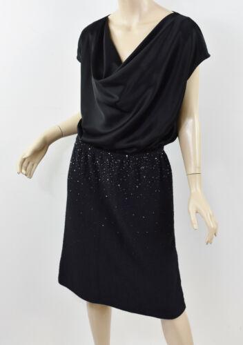 ST JOHN Black Liquid Satin & Boucle Knit Crystal E