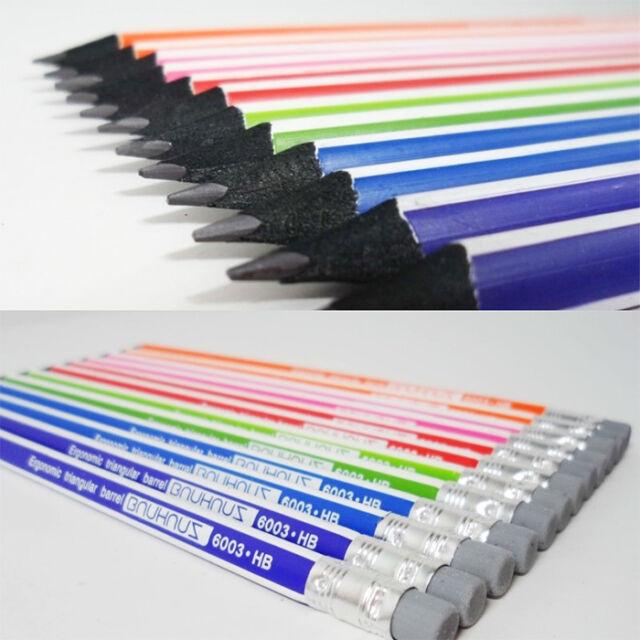 MONAMI BAUHAUS triangular Pencil 6003 with Eraser Tip in Black Wood 12pcs - HB