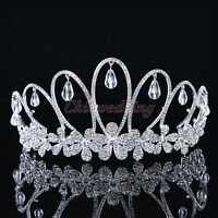 Vintage Rhinestone Wedding Tiara Pageant Princess Crown Headpiece Veil Headband