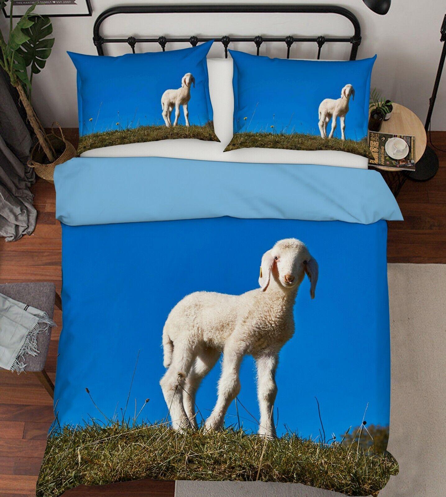 3D Lamb Blau Sky G70 Animal Bett Pillowcases Quilt Duvet Startseite Set Königin König Wen