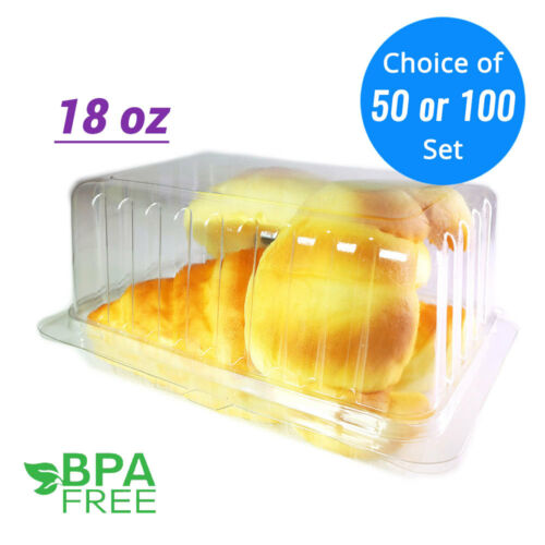18oz Clear Smooth Wall Hinged Deli Container with Clamshell 50//100ct BPA free
