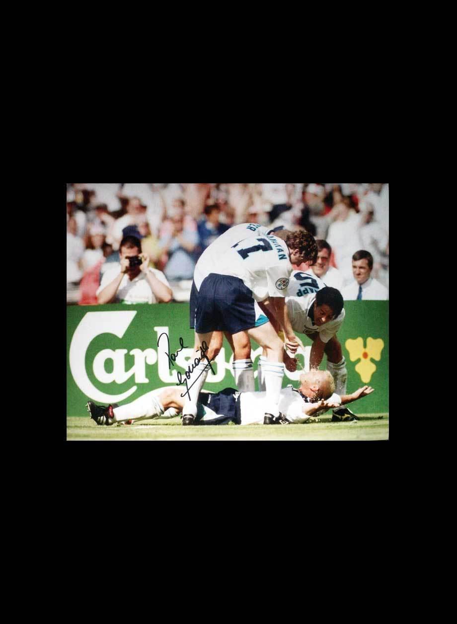 Paul Gascoigne Signed England Colour Photo Euro 1996 Celebration Autograph