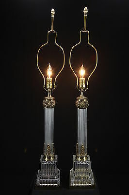 2 Paul Hanson Vintage Hollywood Regency Electric Table Lamps Glass Columns Brass