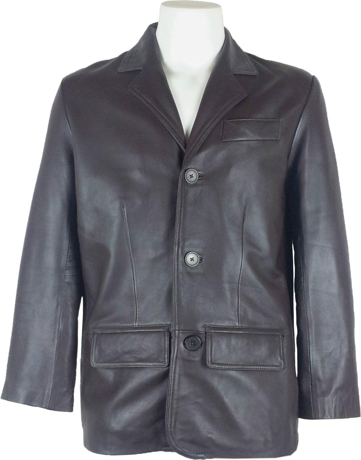 UNICORN  Herren Autentico Vera Pelle Giacca Classico Vestito Blazer Marrone  A4