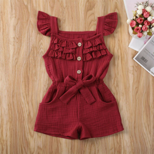 Summer Infant Toddler Baby Kids Girl Romper Jumpsuit Playsuit Bodysuit Outfit US