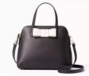 Kate-Spade-Robinson-Street-Maise-Leather-Satchel-BOW-rachelle-Black-Creme-New