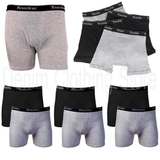2 4 6 Lot Men Knocker Cotton Boxer Briefs Solid  Black Gray Underwear Size S-3XL