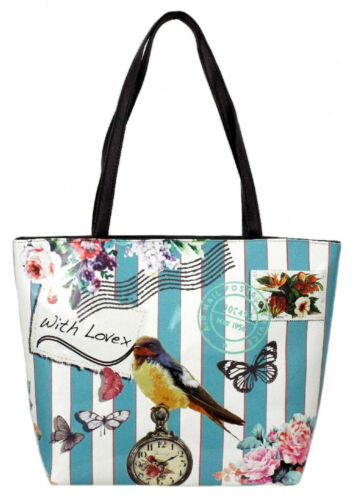 Details about  /LADIES STYLISH ELLA TWO STRAP NAUTICAL BIRDPRINT DESIGN SHOULDER BAG 72930 72931